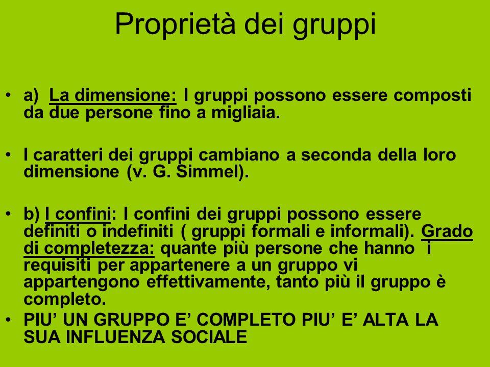Proprietà dei gruppi a) La dimensione: I gruppi possono essere composti da due persone fino a migliaia.