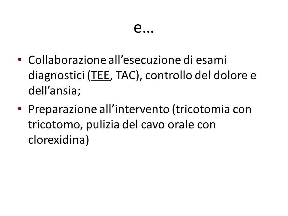 e… Collaborazione all'esecuzione di esami diagnostici (TEE, TAC), controllo del dolore e dell'ansia;