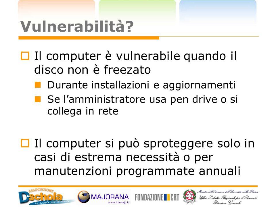Vulnerabilità Il computer è vulnerabile quando il disco non è freezato. Durante installazioni e aggiornamenti.
