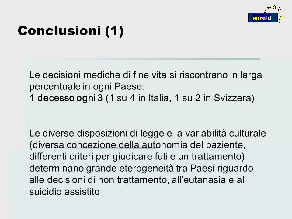 Conclusioni (1) Le decisioni mediche di fine vita si riscontrano in larga percentuale in ogni Paese: