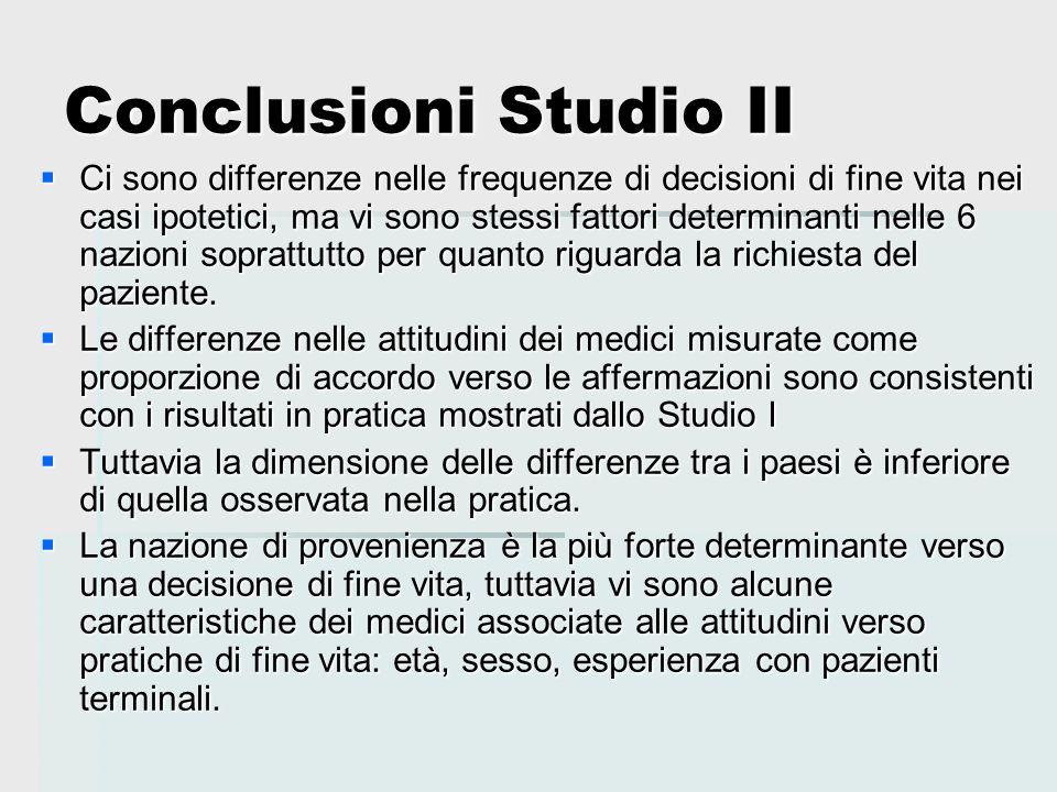 Conclusioni Studio II