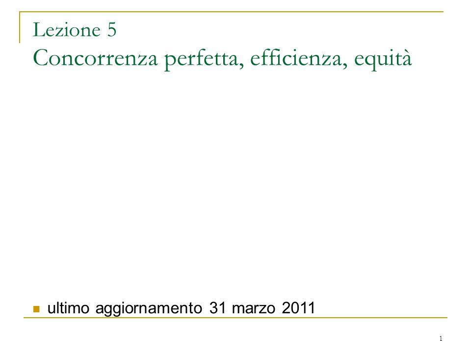 Lezione 5 Concorrenza perfetta, efficienza, equità