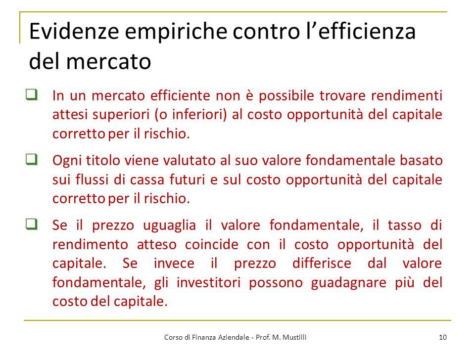 Evidenze empiriche contro l'efficienza del mercato