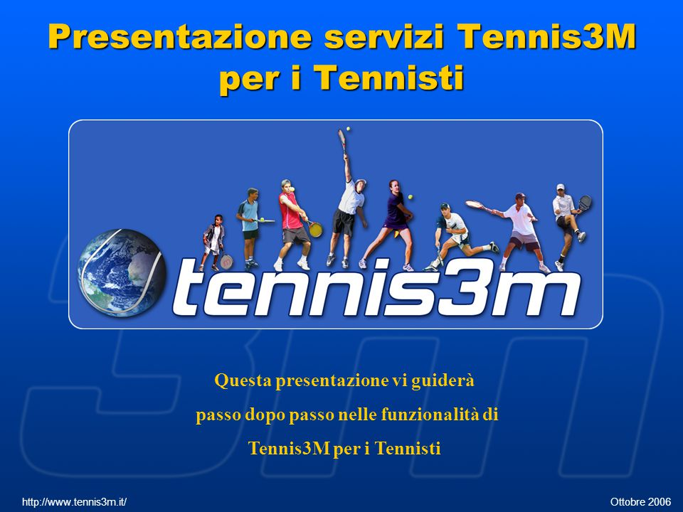 Presentazione servizi Tennis3M per i Tennisti