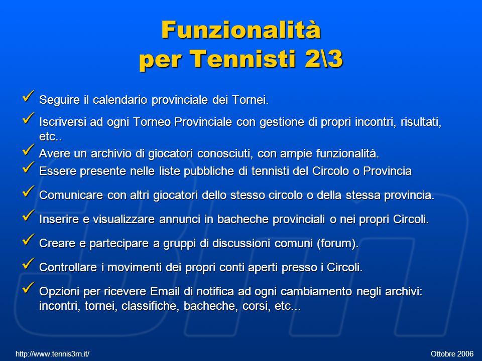 Funzionalità per Tennisti 2\3