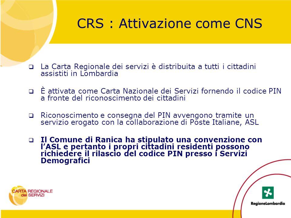 CRS : Attivazione come CNS