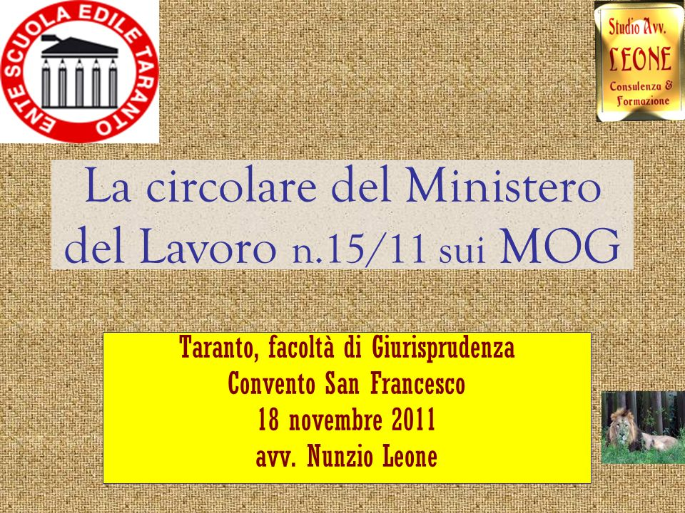La circolare del Ministero del Lavoro n.15/11 sui MOG