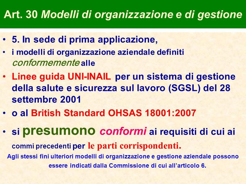 Art. 30 Modelli di organizzazione e di gestione