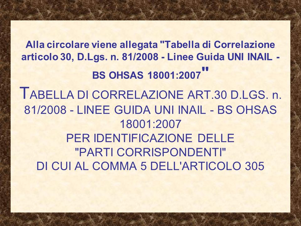 Alla circolare viene allegata Tabella di Correlazione articolo 30, D