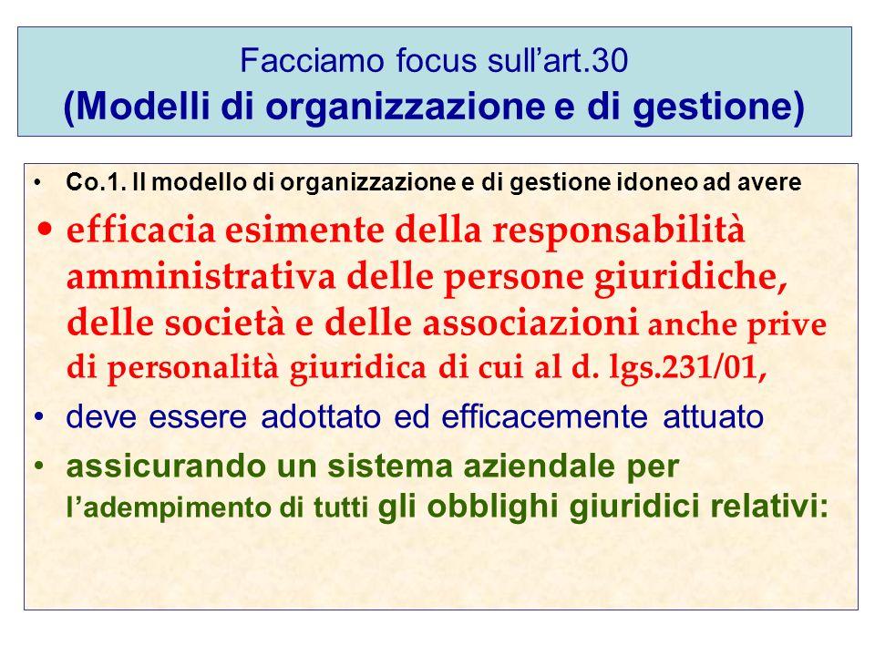 Facciamo focus sull'art.30 (Modelli di organizzazione e di gestione)