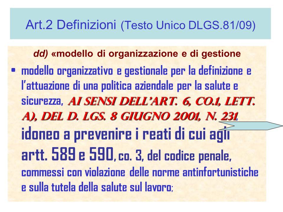 Art.2 Definizioni (Testo Unico DLGS.81/09)