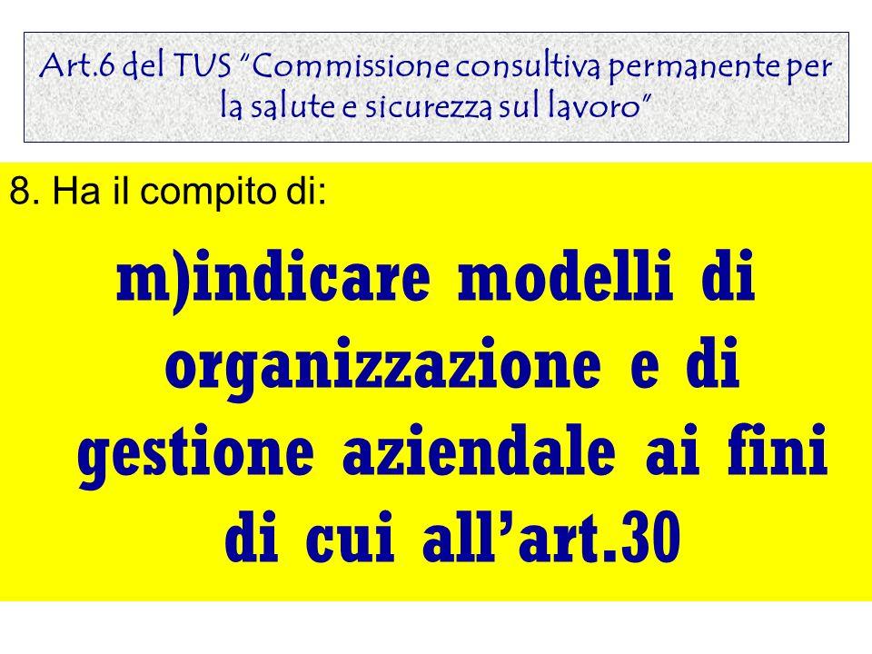 Art.6 del TUS Commissione consultiva permanente per la salute e sicurezza sul lavoro