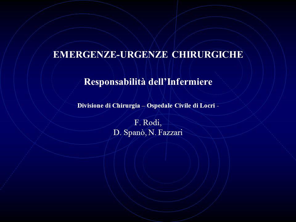 EMERGENZE-URGENZE CHIRURGICHE Responsabilità dell'Infermiere Divisione di Chirurgia – Ospedale Civile di Locri - F.