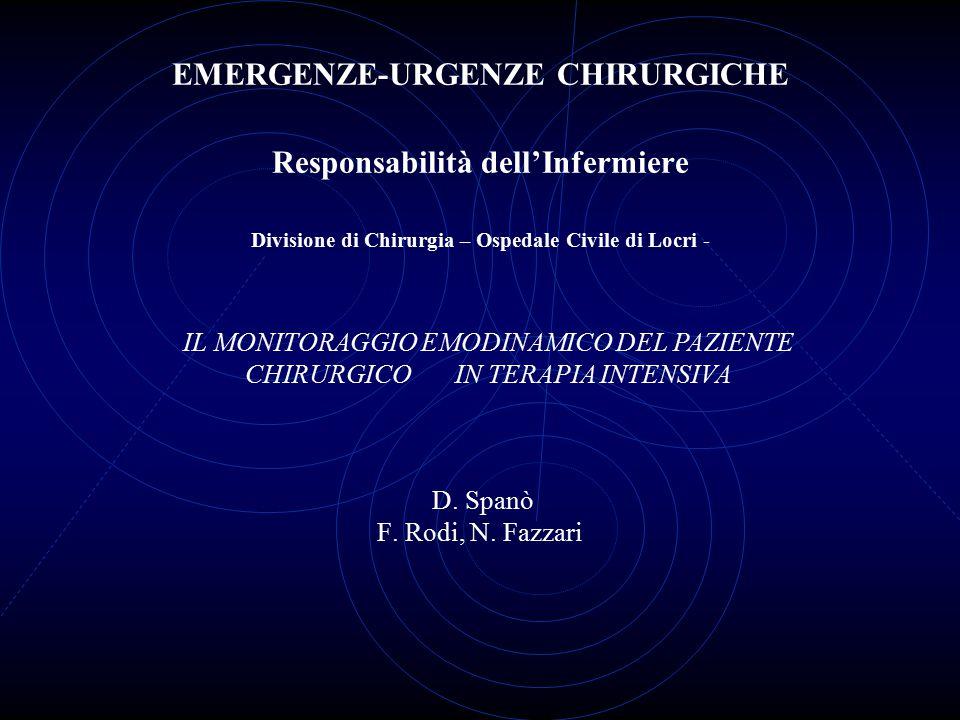 EMERGENZE-URGENZE CHIRURGICHE Responsabilità dell'Infermiere Divisione di Chirurgia – Ospedale Civile di Locri - D. Spanò F. Rodi, N. Fazzari
