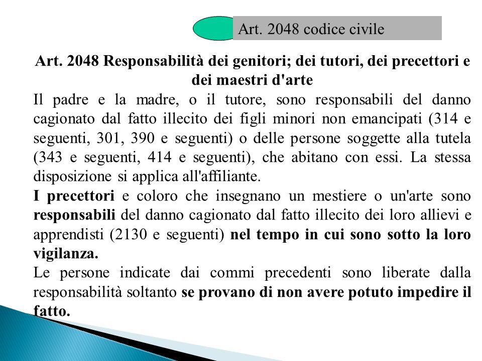 Art. 2048 codice civile Art. 2048 Responsabilità dei genitori; dei tutori, dei precettori e dei maestri d arte.