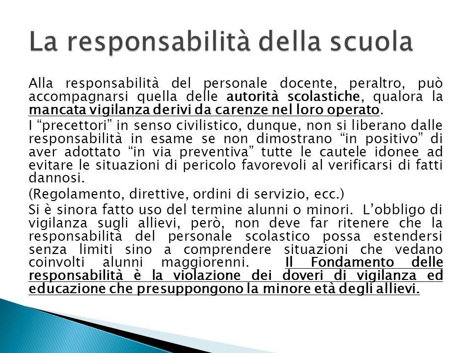 La responsabilità della scuola