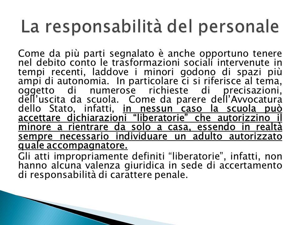 La responsabilità del personale