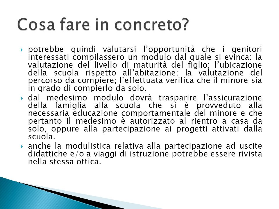 Cosa fare in concreto
