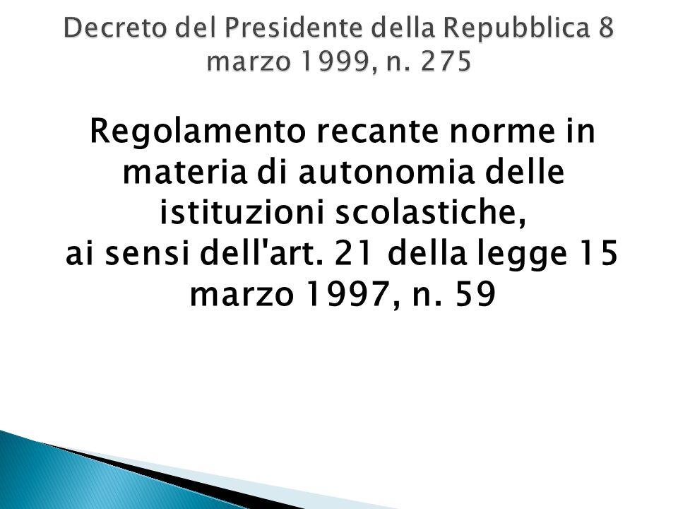 Decreto del Presidente della Repubblica 8 marzo 1999, n. 275