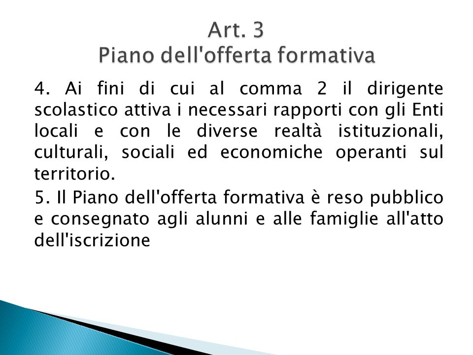 Art. 3 Piano dell offerta formativa