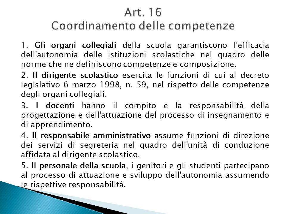 Art. 16 Coordinamento delle competenze
