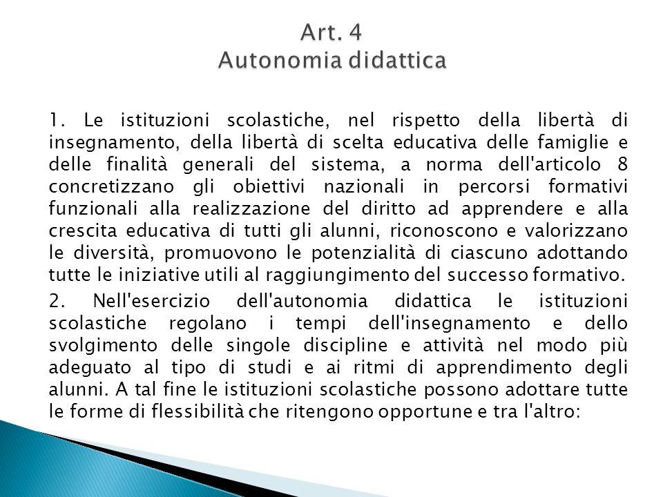 Art. 4 Autonomia didattica