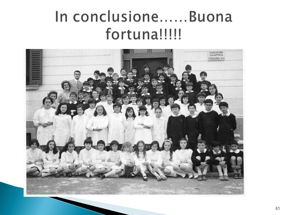 In conclusione……Buona fortuna!!!!!