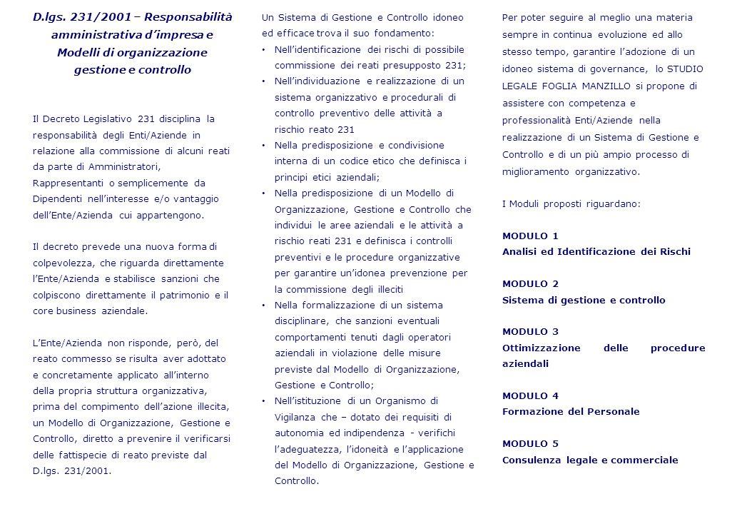 D.lgs. 231/2001 – Responsabilità amministrativa d'impresa e Modelli di organizzazione gestione e controllo