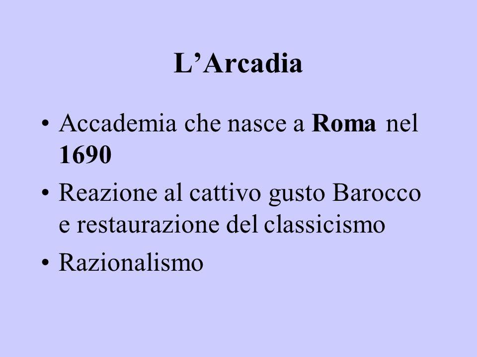 L'Arcadia Accademia che nasce a Roma nel 1690