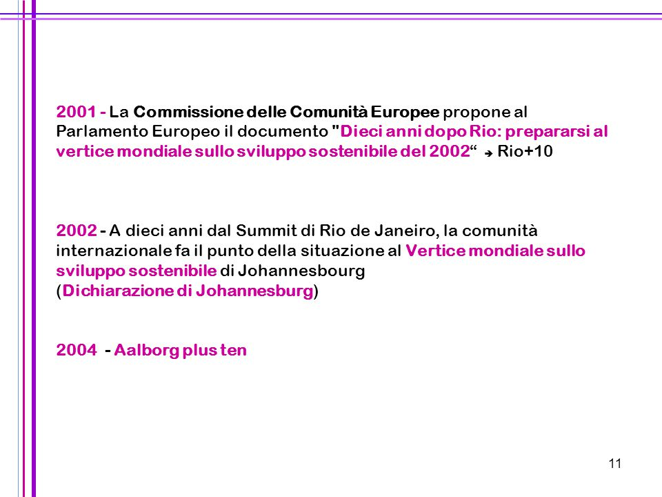 2001 - La Commissione delle Comunità Europee propone al Parlamento Europeo il documento Dieci anni dopo Rio: prepararsi al vertice mondiale sullo sviluppo sostenibile del 2002  Rio+10