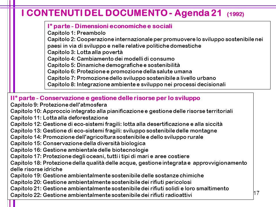 I CONTENUTI DEL DOCUMENTO - Agenda 21 (1992)