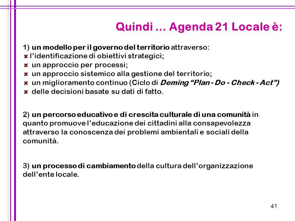 Quindi … Agenda 21 Locale è: