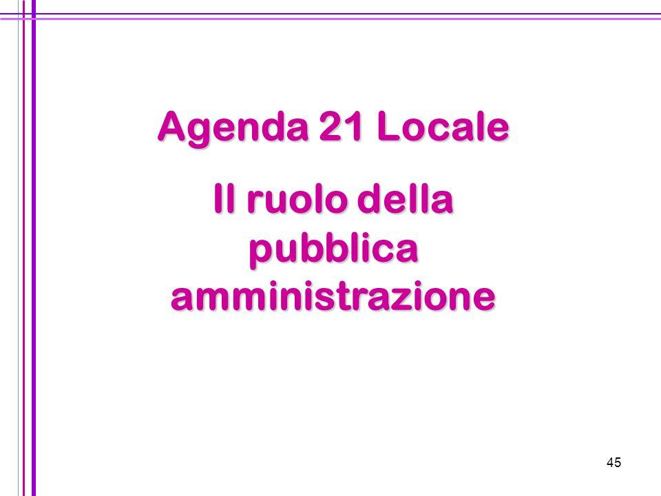Il ruolo della pubblica amministrazione