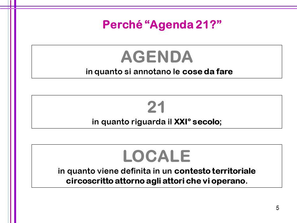 AGENDA 21 LOCALE Perché Agenda 21