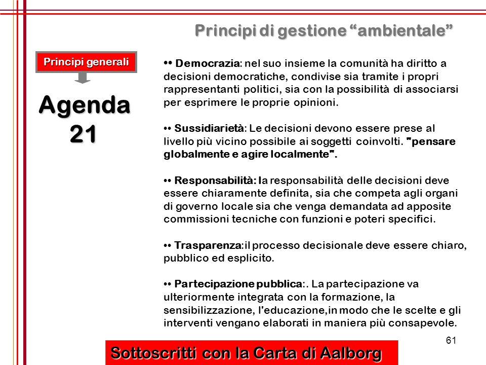 Agenda 21 Principi di gestione ambientale