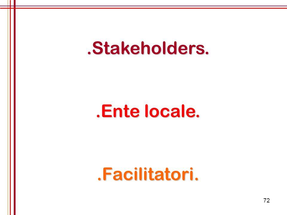 .Stakeholders. .Ente locale. .Facilitatori.