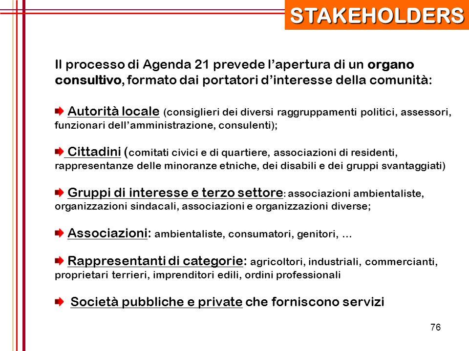 STAKEHOLDERS Il processo di Agenda 21 prevede l'apertura di un organo consultivo, formato dai portatori d'interesse della comunità: