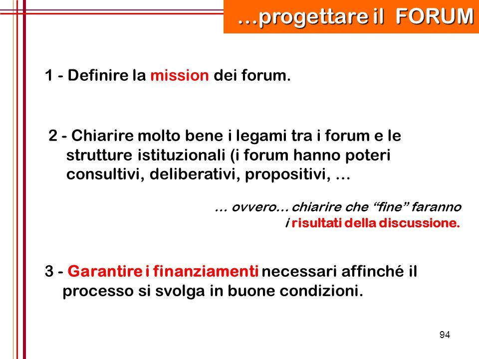 …progettare il FORUM 1 - Definire la mission dei forum.