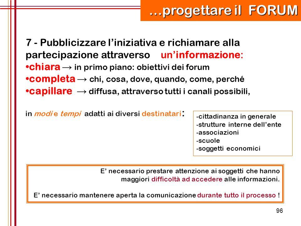…progettare il FORUM 7 - Pubblicizzare l'iniziativa e richiamare alla partecipazione attraverso un'informazione: