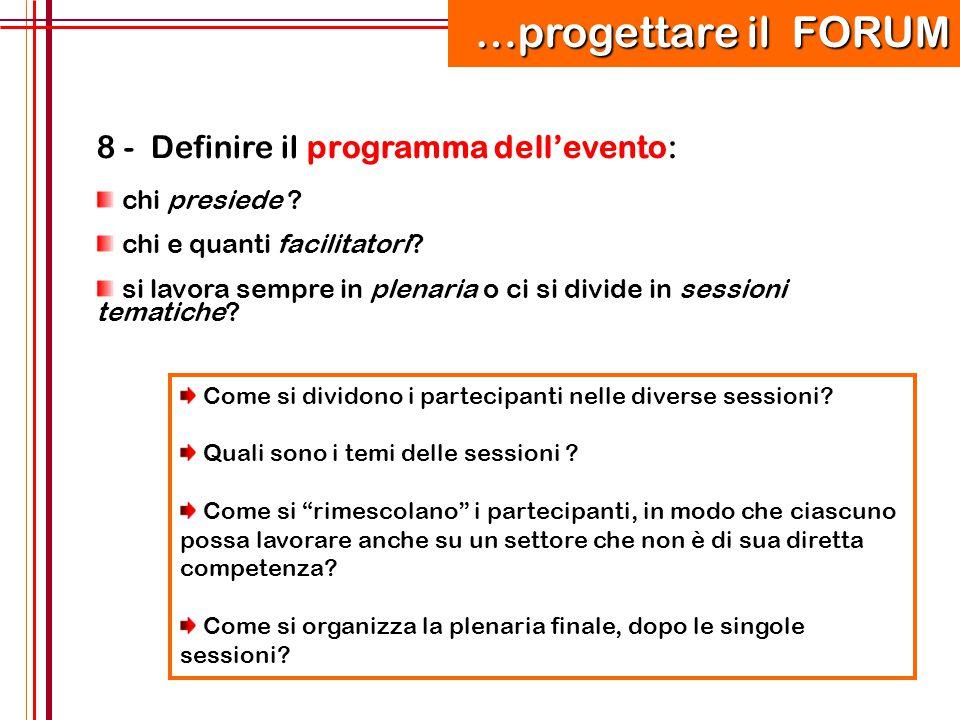 …progettare il FORUM 8 - Definire il programma dell'evento: