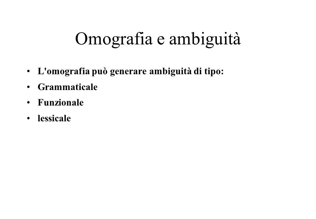 Omografia e ambiguità L omografia può generare ambiguità di tipo: