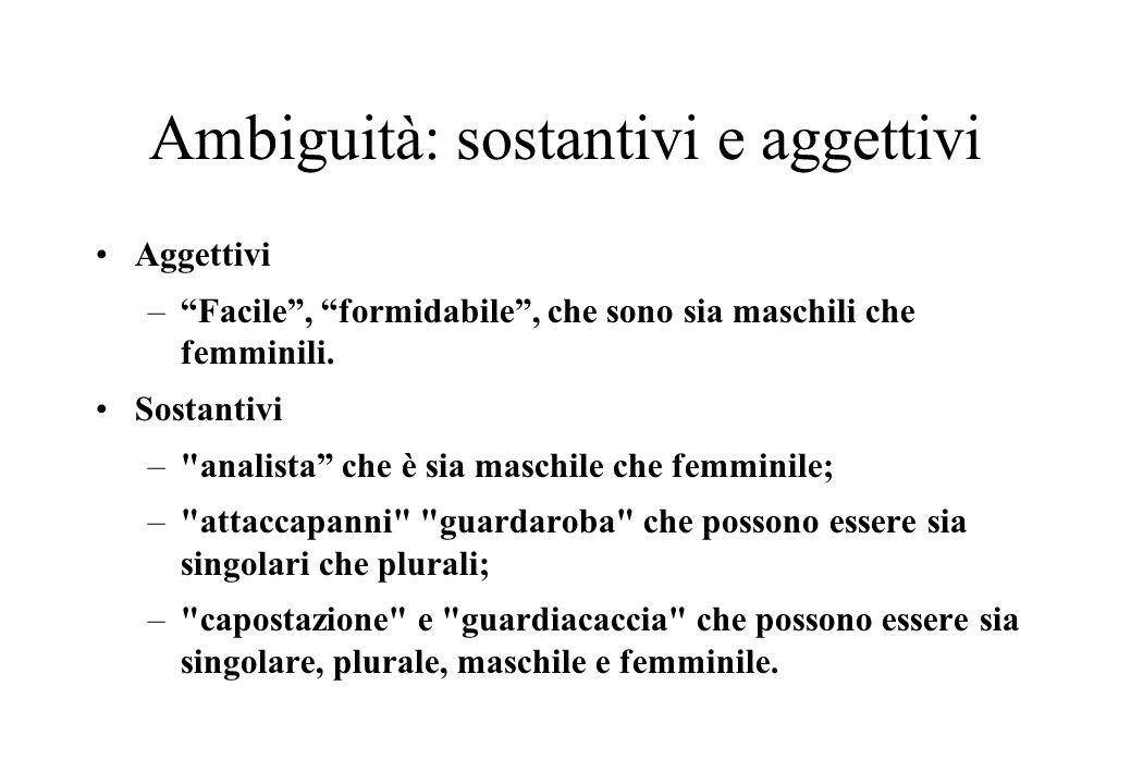 Ambiguità: sostantivi e aggettivi
