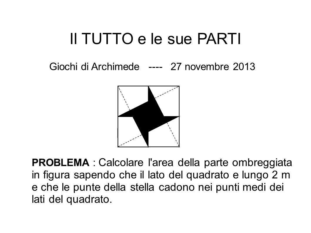 Il TUTTO e le sue PARTI Giochi di Archimede ---- 27 novembre 2013