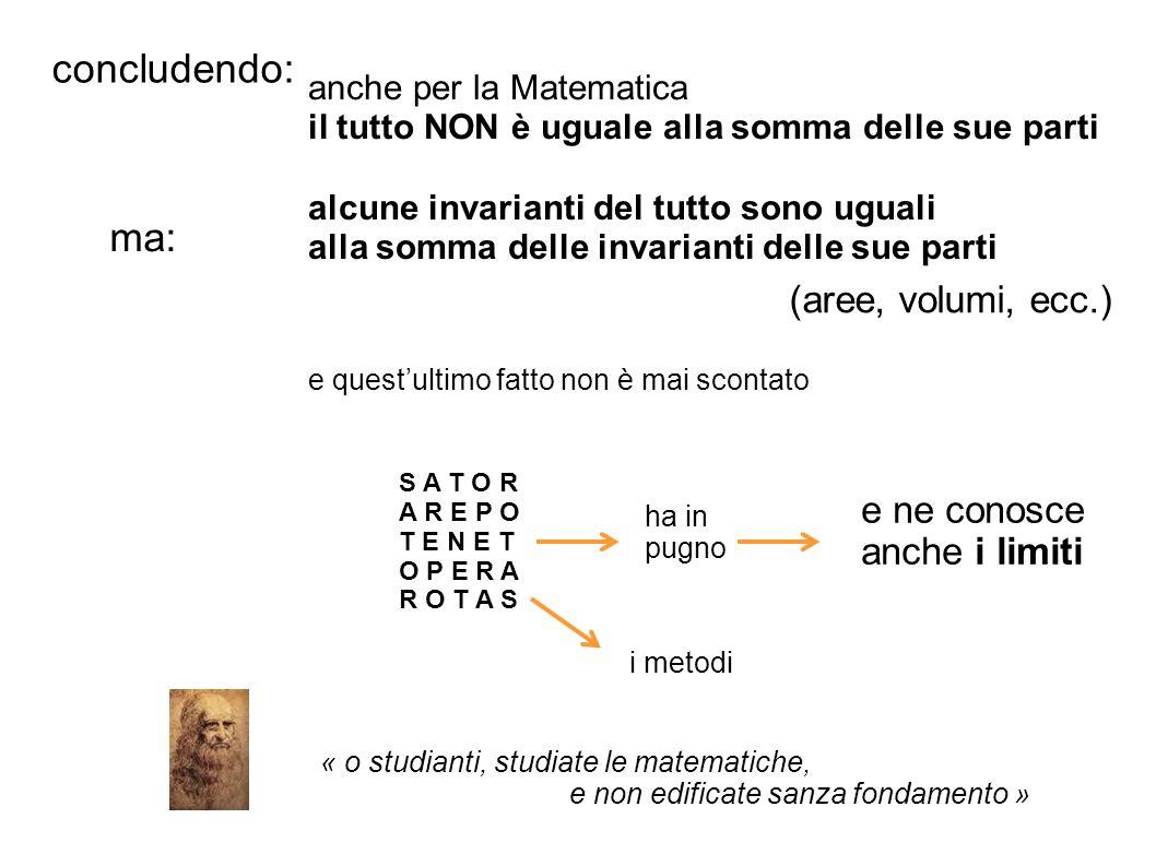 concludendo: ma: (aree, volumi, ecc.) e ne conosce anche i limiti