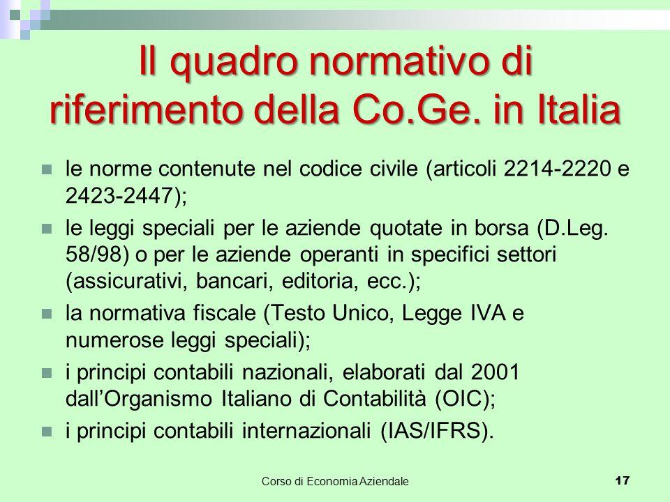 Il quadro normativo di riferimento della Co.Ge. in Italia
