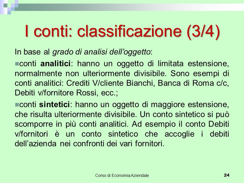 I conti: classificazione (3/4)