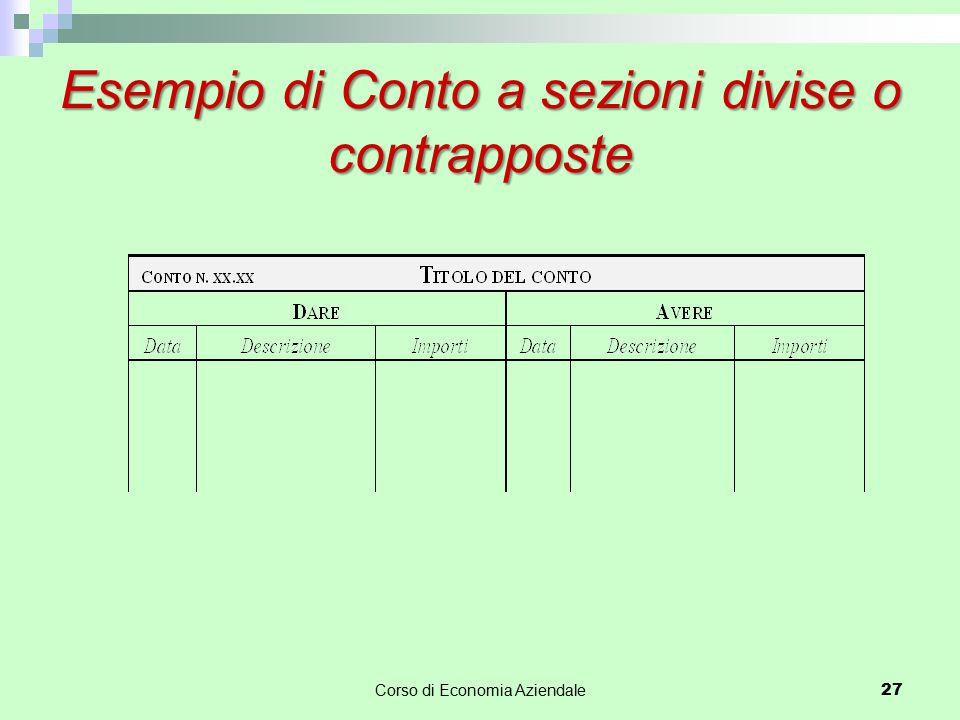 Esempio di Conto a sezioni divise o contrapposte