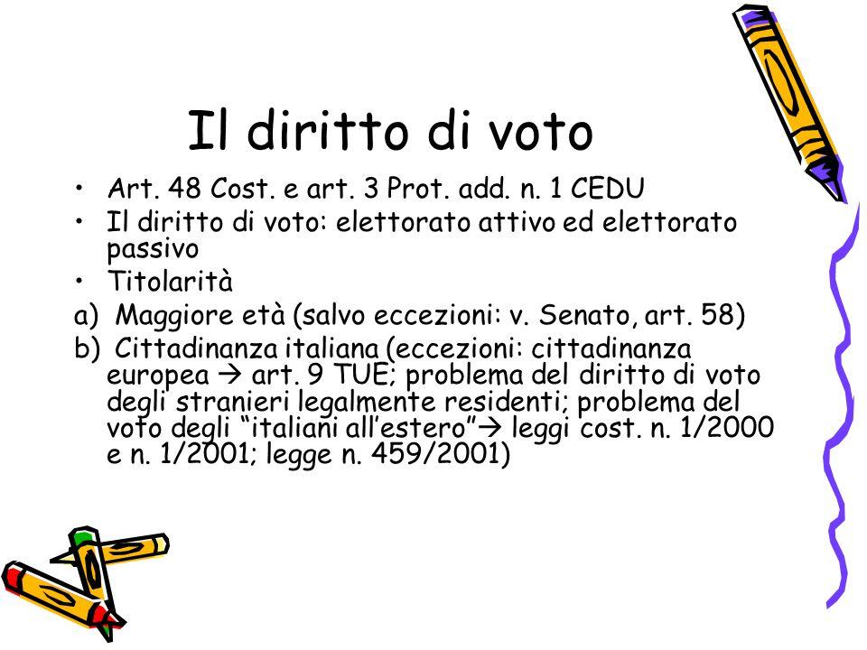 Il diritto di voto Art. 48 Cost. e art. 3 Prot. add. n. 1 CEDU