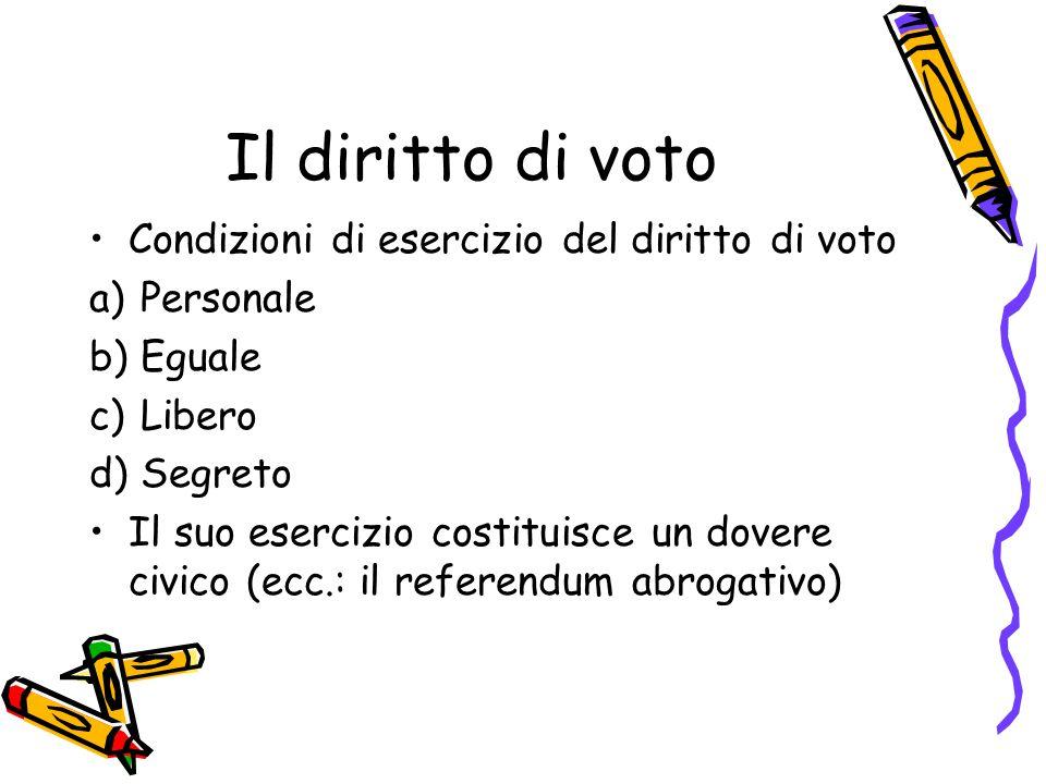 Il diritto di voto Condizioni di esercizio del diritto di voto