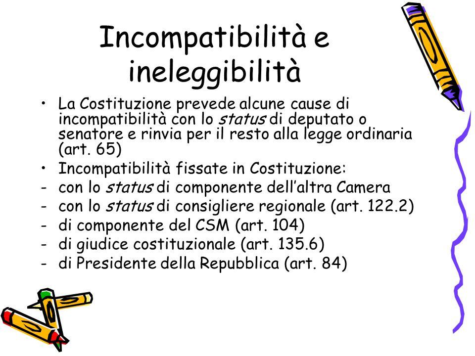 Incompatibilità e ineleggibilità